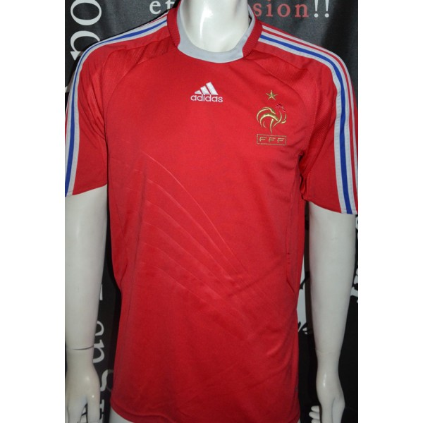 maillot officiel fff equipe de france neuf adidas taille l rouge argus foot sports. Black Bedroom Furniture Sets. Home Design Ideas