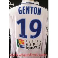 Maillot HAC LE HAVRE porté GENTON N°19 LFP LIGUE 2 2011/12