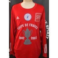 Maillot ADIDAS Coupe de France 2002/03 porté N°2 Taille XL Rouge