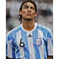 A Maillot porté Gabriel HEINZE N°6 AFA ARGENTINE match amical