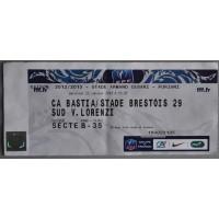 Billet Ticket Stade CA BASTIA / Stade Brestois 23 janvier 2013