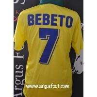 Maillot ancien BRASIL CBF Bresil porté N°7 BEBETO taille M