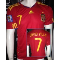 Maillot ESPAGNE N°7 David VILLA taille S adidas