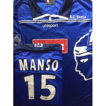 Maillot BASTIA SCB floqué N°15 LNF MANSO taille XL