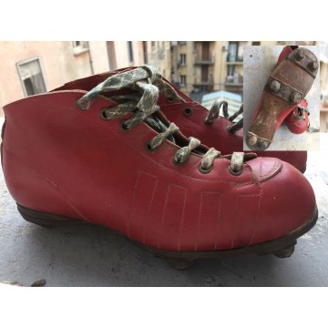 Ancienne paire de chaussure crampons FOOTBALL années 30 rouge adulte taiile 6