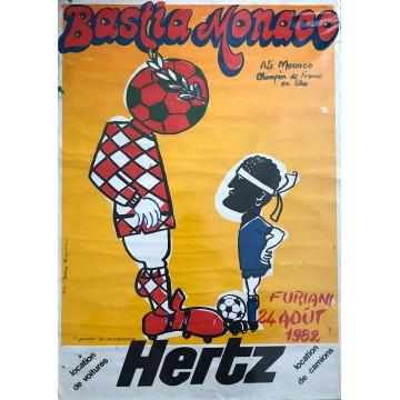 Affiche ancienne BASTIA - MONACO 24 AOUT 1982 Monique Corrieri