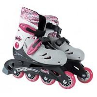 Rollers ajustables 4 roues pointure 33/36 : blanc et rose Moov ngo