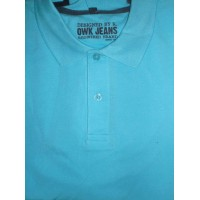 Polo neuf OWK JEANS Bleu Turquoise taille L