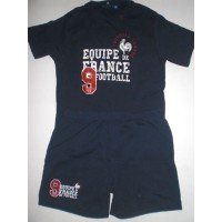 Ensemble Tee shirt / short Equipe de FRANCE FOOT taille 14 ans