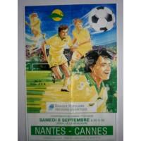 Ancienne Affiche NANTES-CANNES 1990 Cham France 1ère division