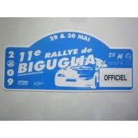 Ancienne Plaque 11ème RALLYE de BIGUGLIA 2009 OFFICIEL