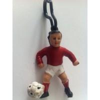 Ancien porte Clef footballeur année 70 rouge Vintage